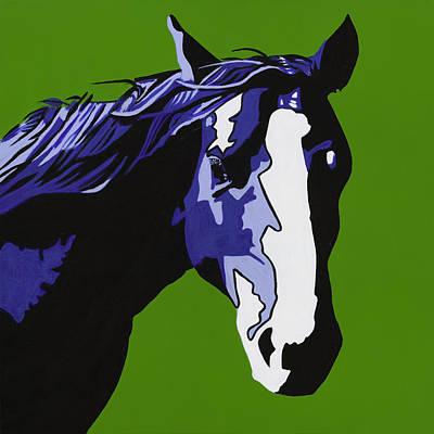 Horse Play Blue Art Print by Sonja Olson
