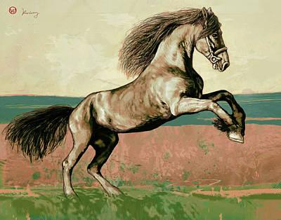 Abstract Horses Mixed Media - Horse Pop Art Poser by Kim Wang