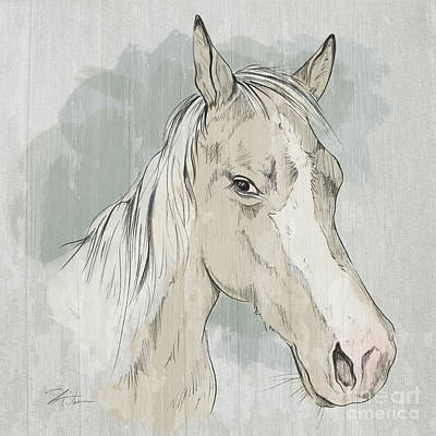 Mixed Media - Horse Portrait-farm Animals by Shari Warren
