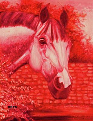 Horse Portrait Painting - Horse Portrait Grey Horse America Red by Bets Klieger