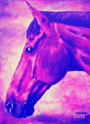 horse portrait PRINCETON pink Art Print by Bets Klieger
