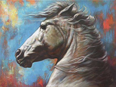 Wild Horse Painting - Horse Power by Harvie Brown