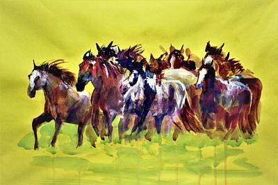 Painting - Horse Power In Grassland. by Khalid Saeed