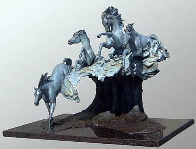Bronze Sculpture - Horse Power by J Anne Butler