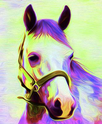 Horse Purple By Nixo Art Print by Nicholas Nixo