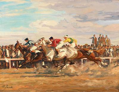 Race Horse Painting - Horse Race by Celestial Images