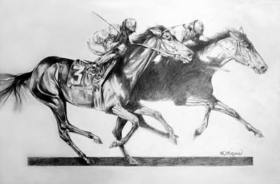 Thoroughbred Drawing - Horse Race by Derrick Higgins