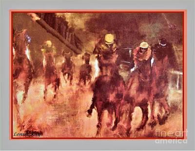 Race Horse Painting - Horse Race by Lenna -Kay