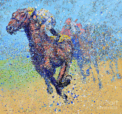 Horse Race On Blue Original by Michael Glass