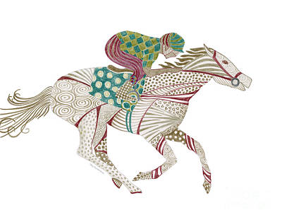 Colored Pencil Painting - Horse Racer by Amy Kirkpatrick