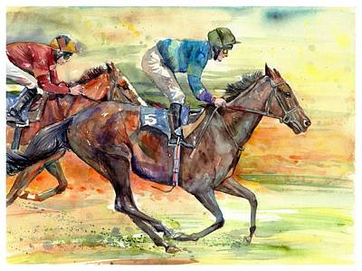 Horse Racing Painting - Horse Races by Suzann's Art