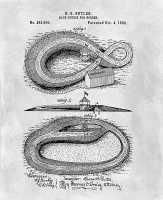 Racetrack Drawing - Horse Racetrack Patent by Dan Sproul