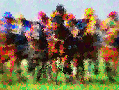 Painting - Horse Racing - Abstract by Samuel Majcen