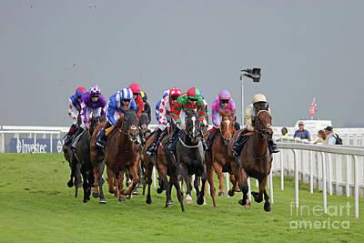 Photograph - Horse Racing At Epsom Downs Uk by Julia Gavin