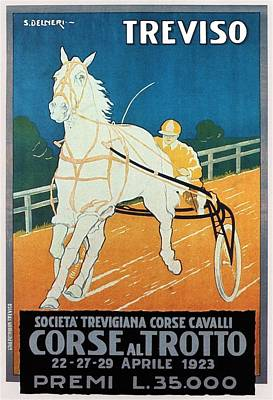 Horse Racing Course In Treviso Italy - Vintage Illustrated Poster For Corse Al Trotto Exposition Art Print