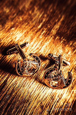 Horse Racing Cuff Links Art Print