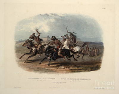 North Painting - Horse Racing Of Sioux Indians Near Fort Pierre by Celestial Images