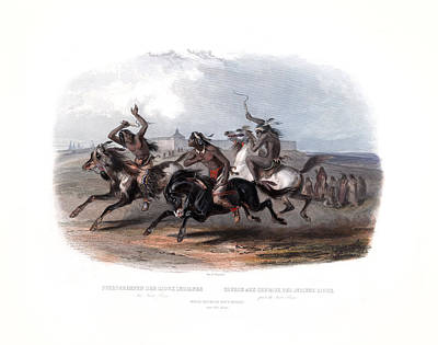 Painting - Horse Racing Of The Sioux Indians Wall Art Prints by Karl Bodmer