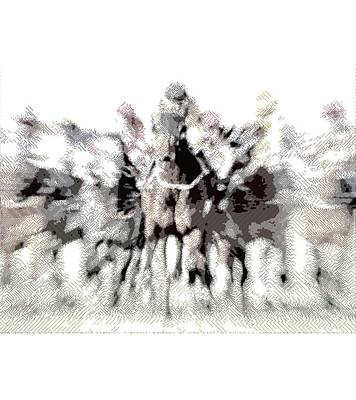 Animals Drawings - Horse Racing - Parallel Hatching by Samuel Majcen