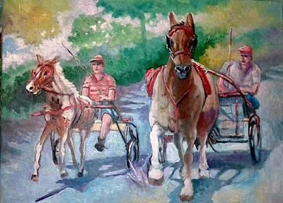 Race Horse Painting - Horse Racing by Paul Weerasekera