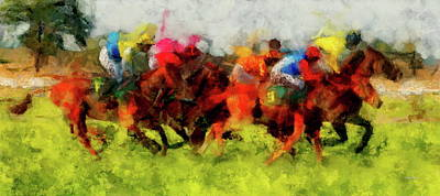 San Diego Painting - Horse Racing by Russ Harris