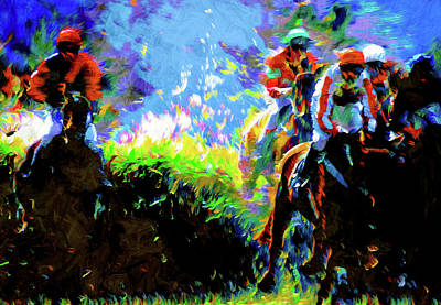 Mixed Media - Horse Racing Semi Abstract by Georgiana Romanovna