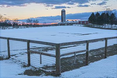 Photograph - Horse Ranch Winter Sunset by Angelo Marcialis