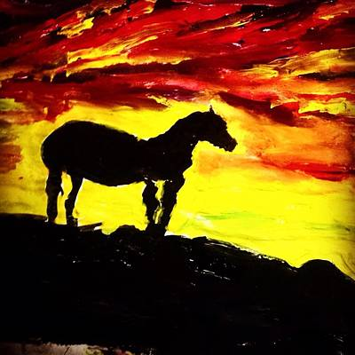 Animals Painting - Horse Rider In The Sunset by Love Art Wonders By God