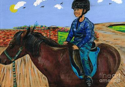 Painting - Horse Riding Boy  by Teresa White