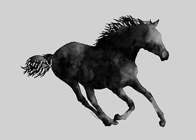 Royalty-Free and Rights-Managed Images - Horse Running in Black and White by Hailey E Herrera