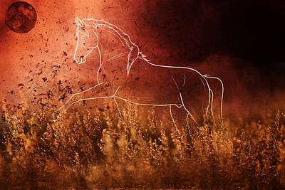 One Animal Digital Art - Horse Running In Field by Art Spectrum