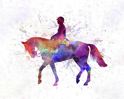 Horse Show 02 In Watercolor Art Print by Pablo Romero
