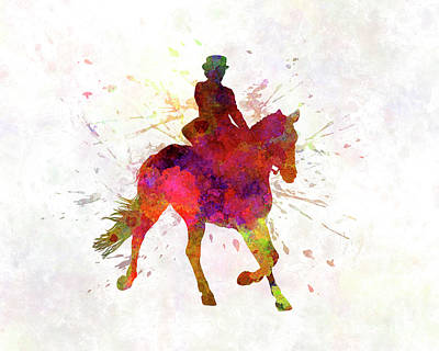 Horse Show 03 In Watercolor Art Print by Pablo Romero