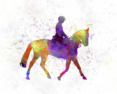 Horse Show 04 In Watercolor Art Print by Pablo Romero