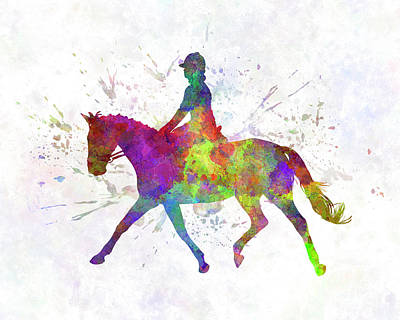Horse Show 05 In Watercolor Art Print by Pablo Romero
