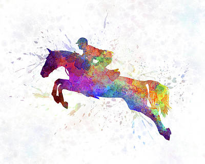 Horse Show 06 In Watercolor Art Print by Pablo Romero