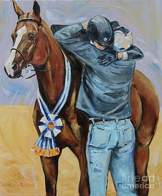 Sorrel Horse Painting - Horse Show Art, Equitation Champion by Maria's Watercolor