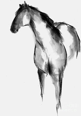 Minimal Drawing - Horse Sketch by Frances Marino