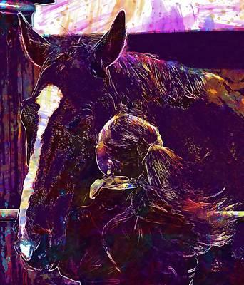 Digital Art - Horse Smooch Love For Animals  by PixBreak Art