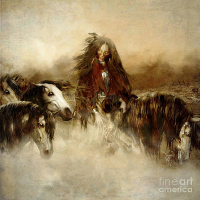 Sepia Digital Art - Horse Spirit Guides by Shanina Conway