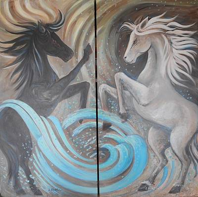 Lynn Burton Wall Art - Painting - Horse Spirits by Lynn Burton