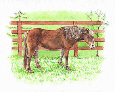 Animals Royalty-Free and Rights-Managed Images - Horse Standing At The Ranch Watercolor  by Irina Sztukowski