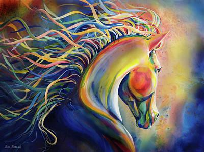 Austin Artist Mixed Media - Horse, Summer Glow, Kim Kubena by Kim Kubena