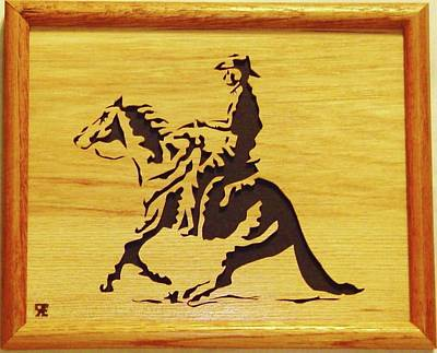Scroll Saw Sculpture - Horse With Rider by Russell Ellingsworth