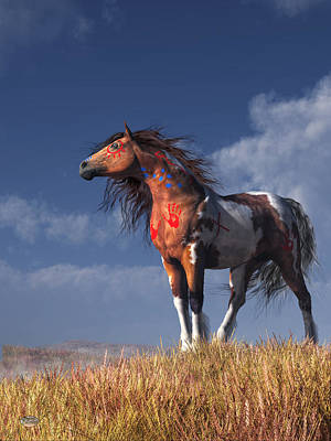 Paint Horse Digital Art - Horse With War Paint by Daniel Eskridge