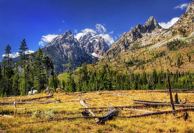 Photograph - Horseback Riders In The Tetons by Carolyn Derstine