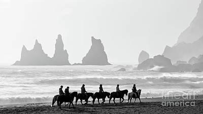 Photograph - Horseback Riding At Reynisfjara Beach by Jerry Fornarotto
