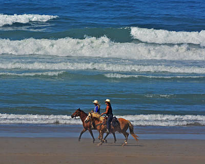 Photograph - Horseback Riding On Beach by Jack Moskovita