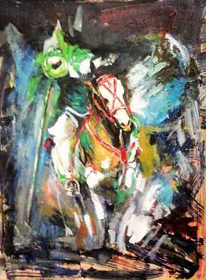 Horse,horseman And The Target Art Print