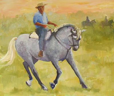 Peruvian Horse Painting - Horseman 3 by Podi Lawrence